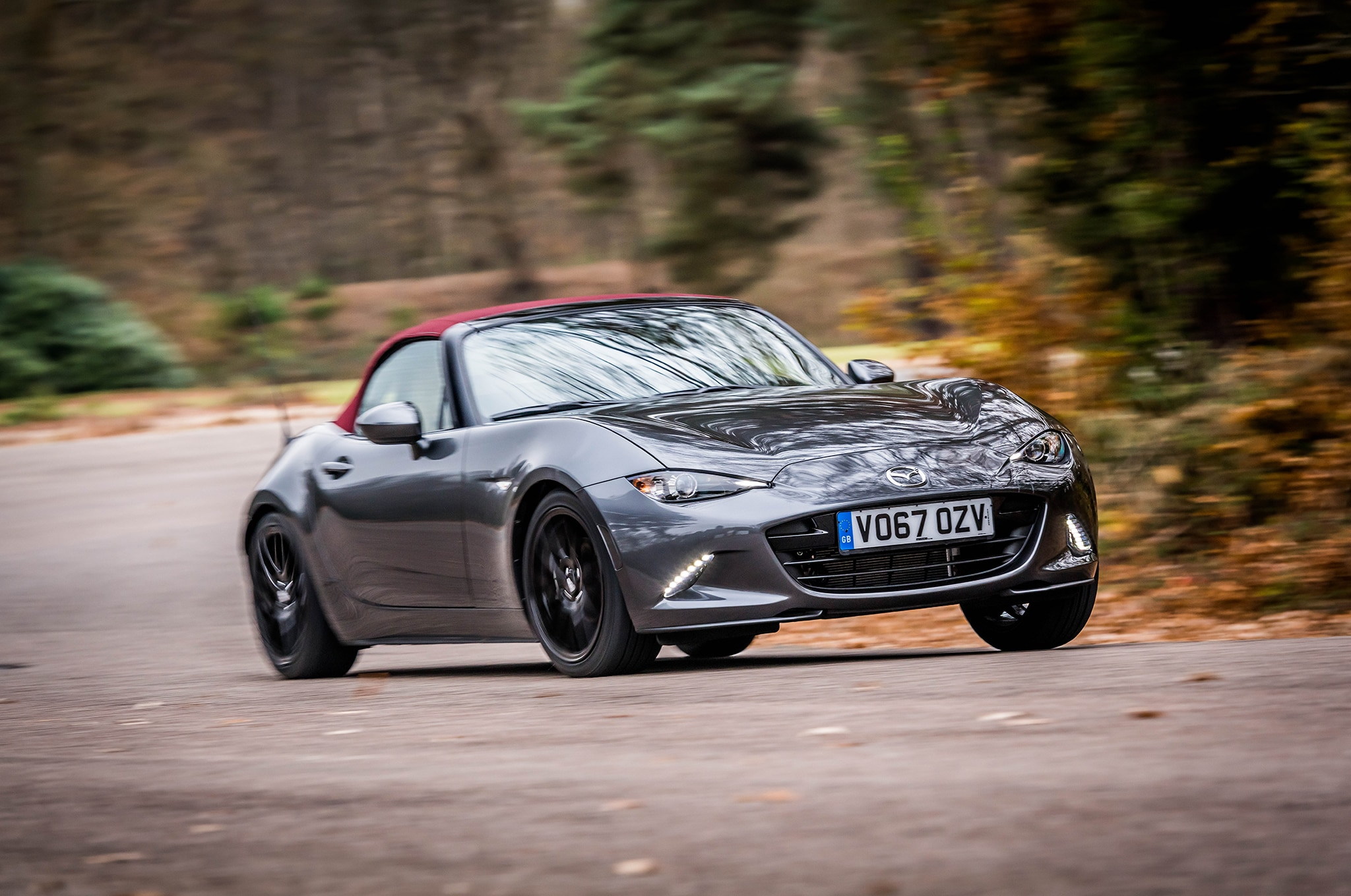 2018 Mazda MX 5 Miata Z Sport Front Three Quarter In Motion 01